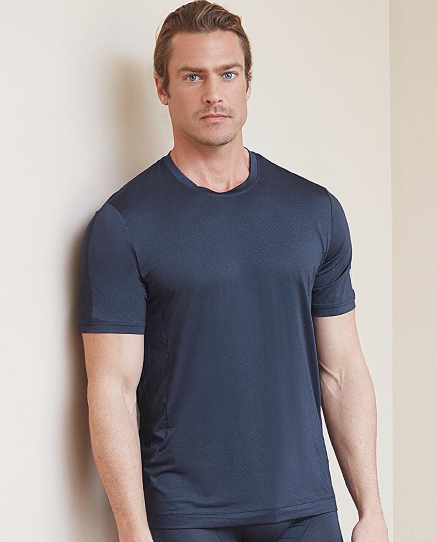 Aimer Men运动装|爱慕先生花灰运动圆领网眼短袖上衣NS62B684