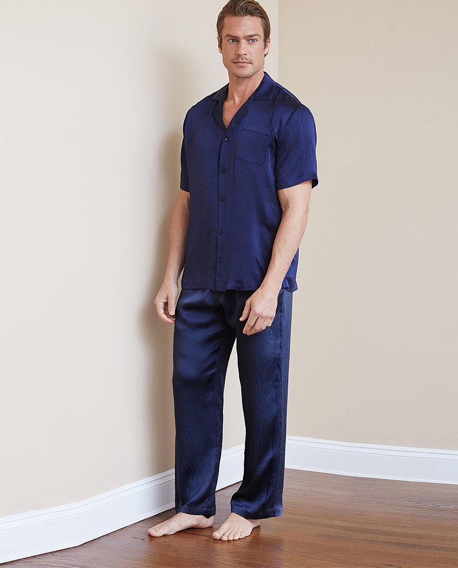 Aimer Men睡衣 ag真人平台先生褶皱真丝家居长裤NS42C051