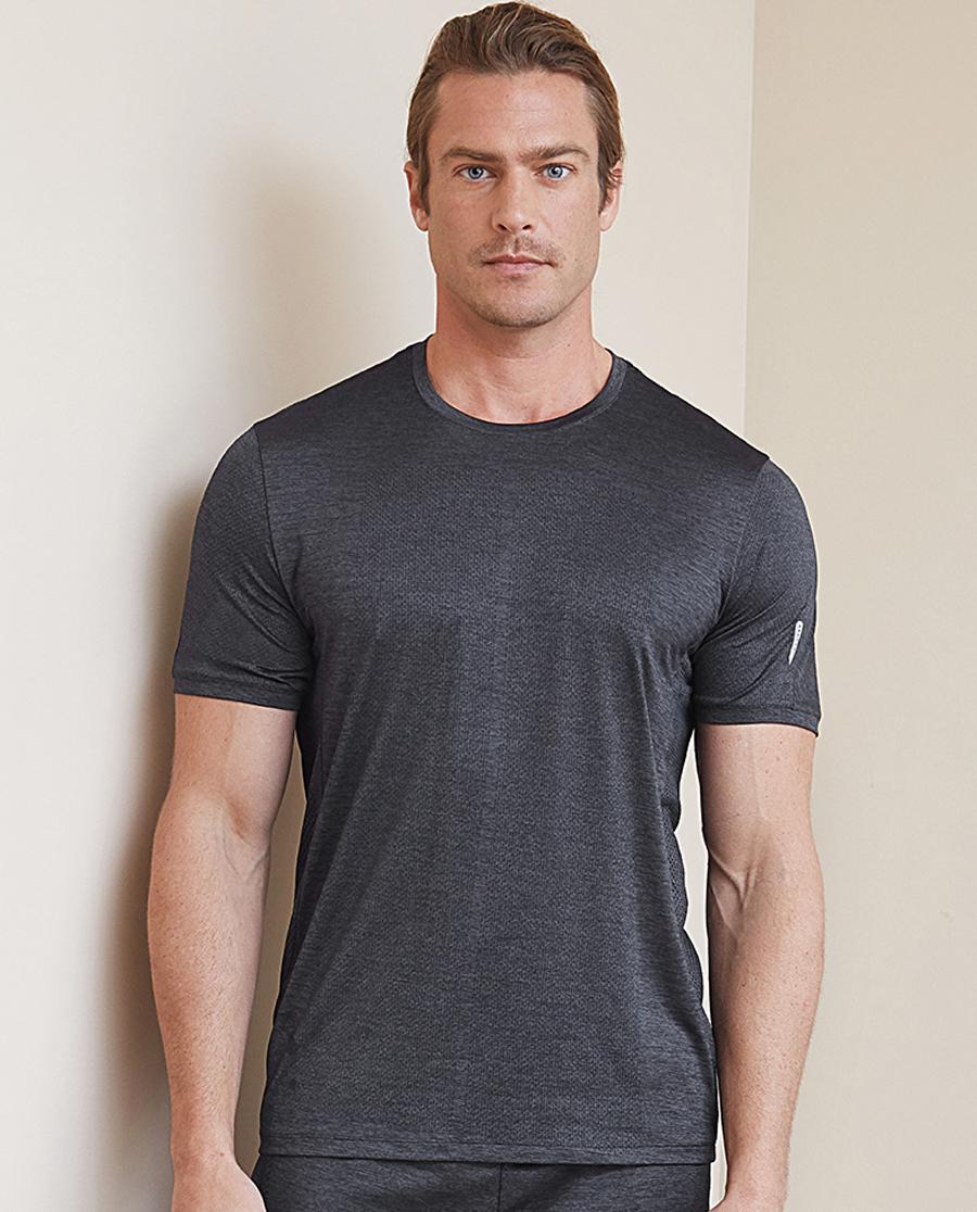 Aimer Men运动装|爱慕先生花灰运动圆领短袖上衣NS62B682