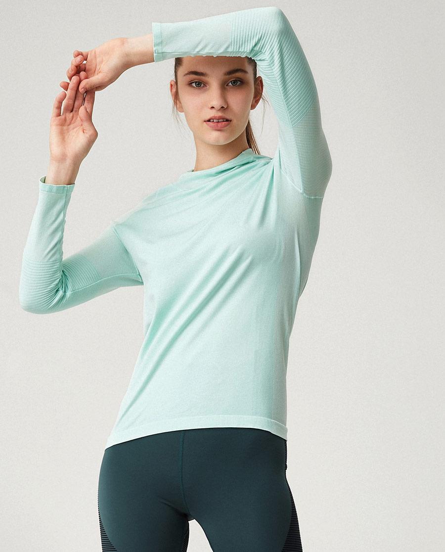 Aimer Sports运动装|ag真人平台运动动感线条一体织带帽长袖T恤AS144G32