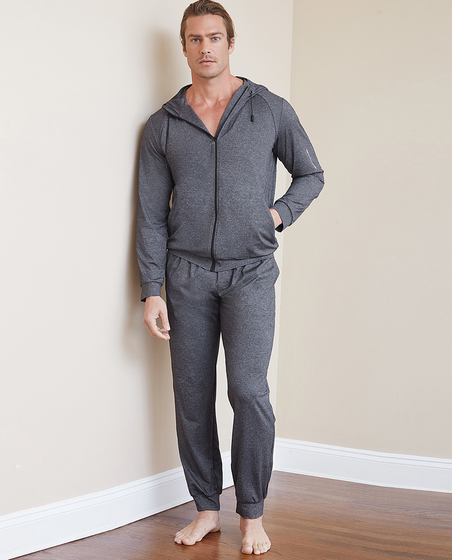 Aimer Men运动装|爱慕先生花灰运动收口长裤NS63B683