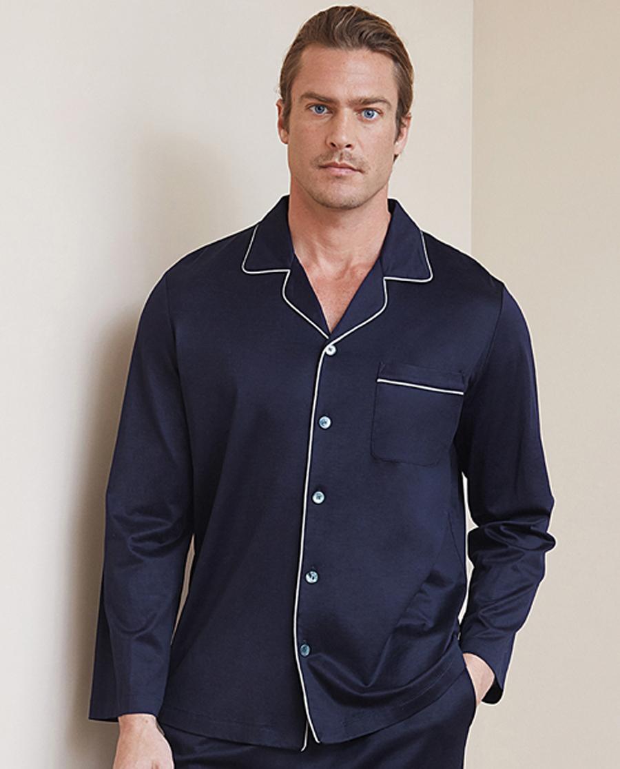 Aimer Men睡衣 ag真人平台先生真丝棉系列长袖开衫NS41C071
