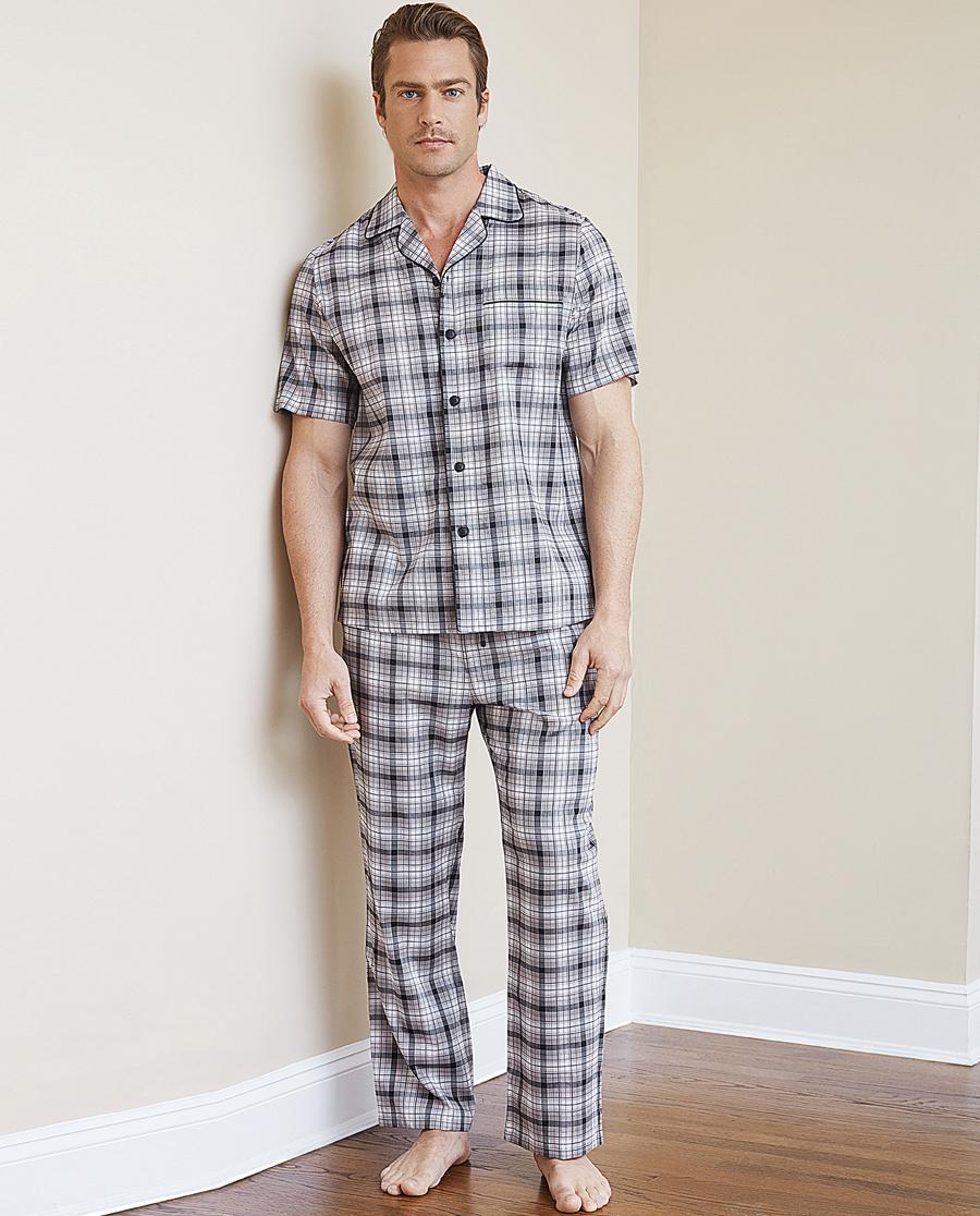 Aimer Men睡衣 ag真人平台先生梭织灰格家居长裤NS42B881