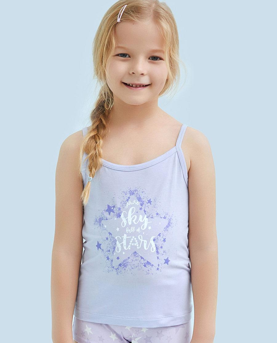 Aimer Kids睡衣|ag真人平台儿童天使背心modal印花许愿星女童吊带AK1111131