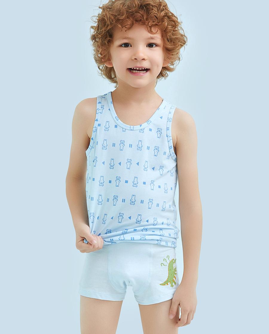 Aimer Kids内裤|爱慕儿童天使小裤棉氨纶印花恐龙中腰平角内裤AK2231213