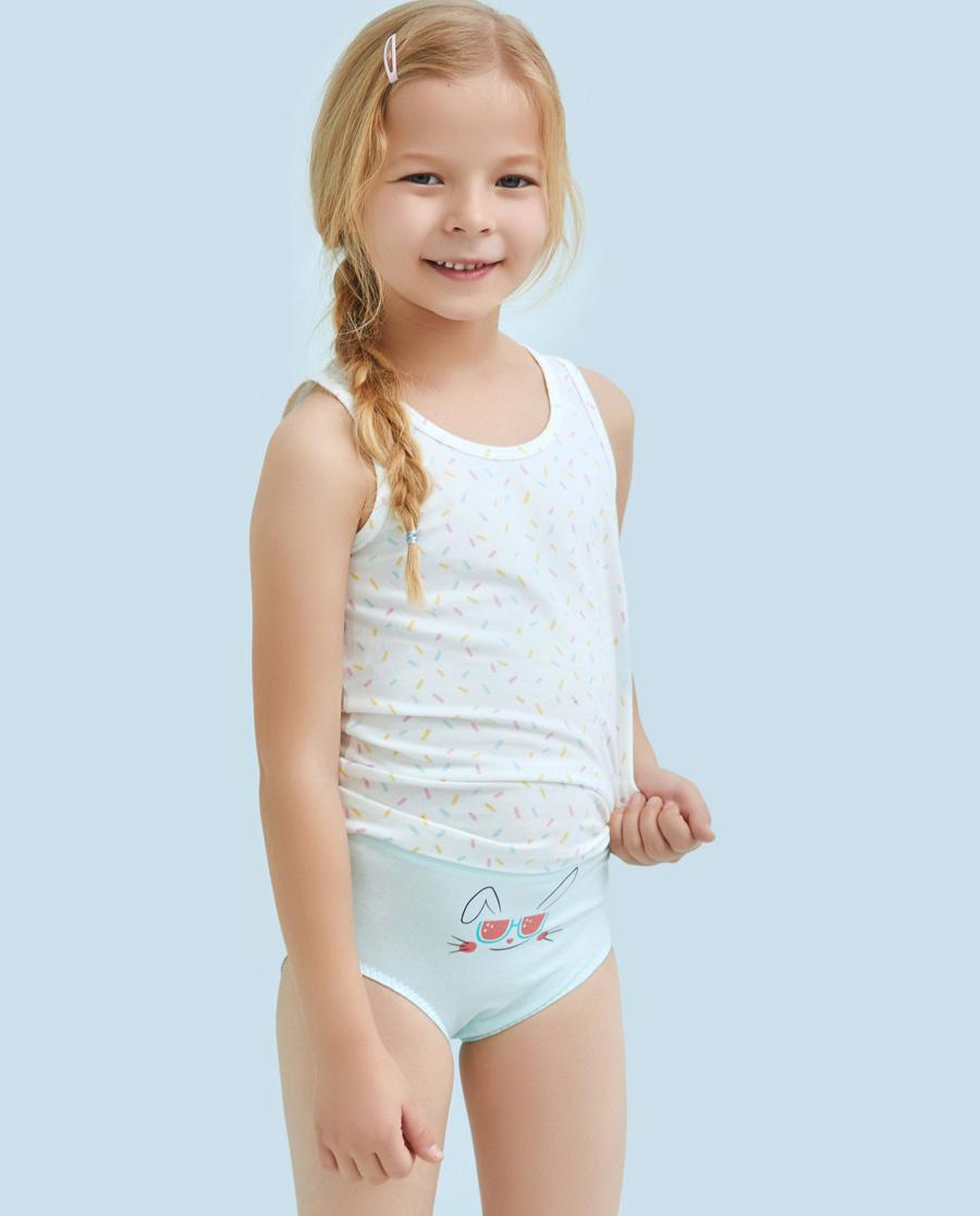 Aimer Kids内裤|ag真人平台儿童天使小裤棉氨纶印花西瓜兔中腰三角裤AK1221216