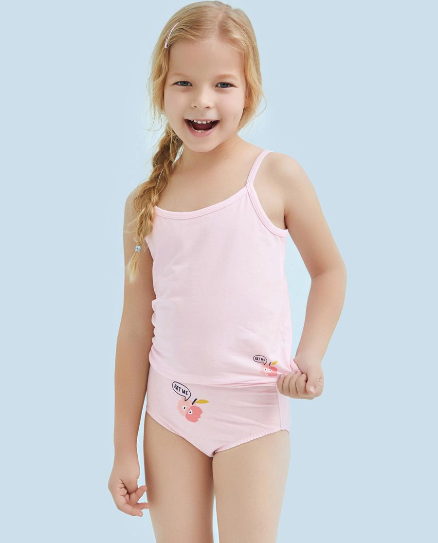 Aimer Kids内裤|ag真人平台儿童天使小裤棉氨纶印花小苹果中腰三角内裤AK1221215