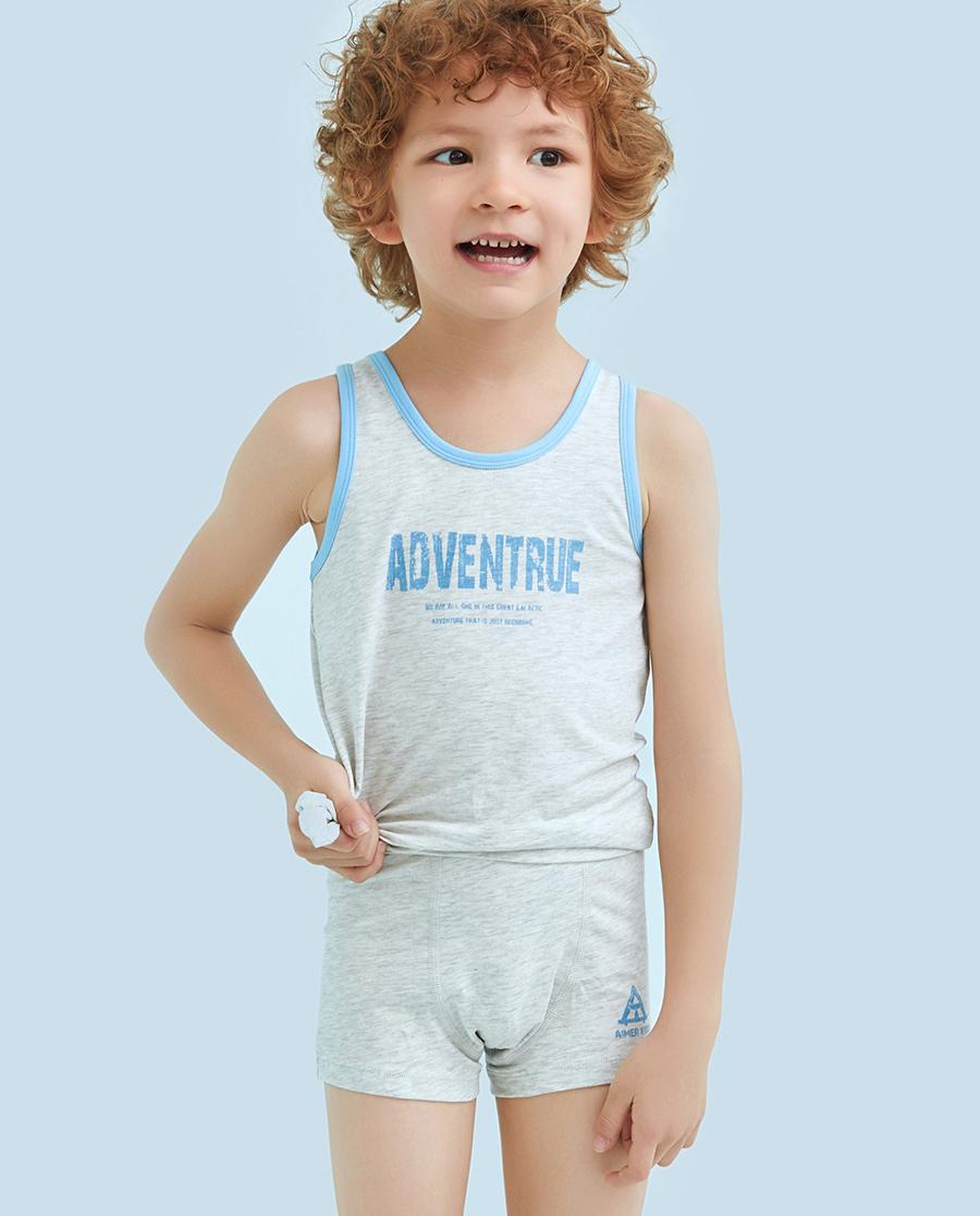 Aimer Kids内裤|爱慕儿童天使小裤棉氨纶印花字母中腰平角裤AK2231214