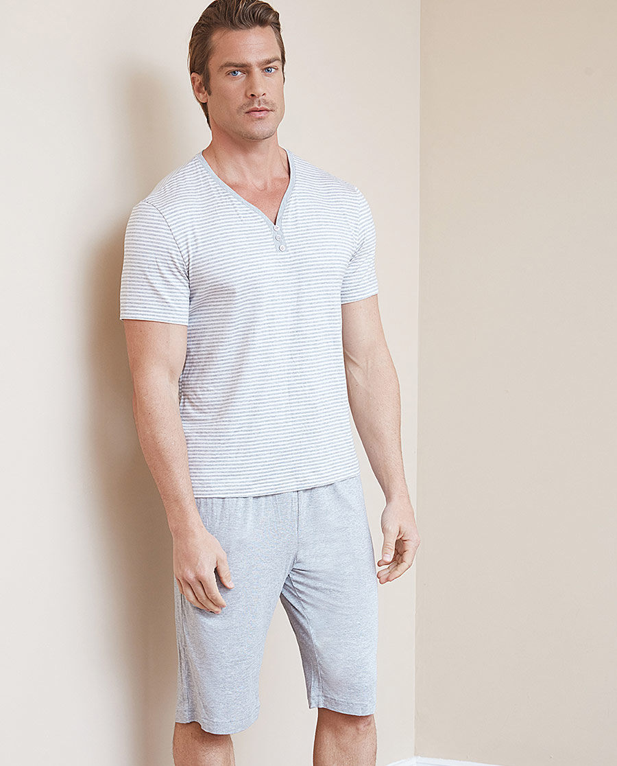 Aimer Men睡衣|爱慕先生蓝标条纹家居短裤NS42B734