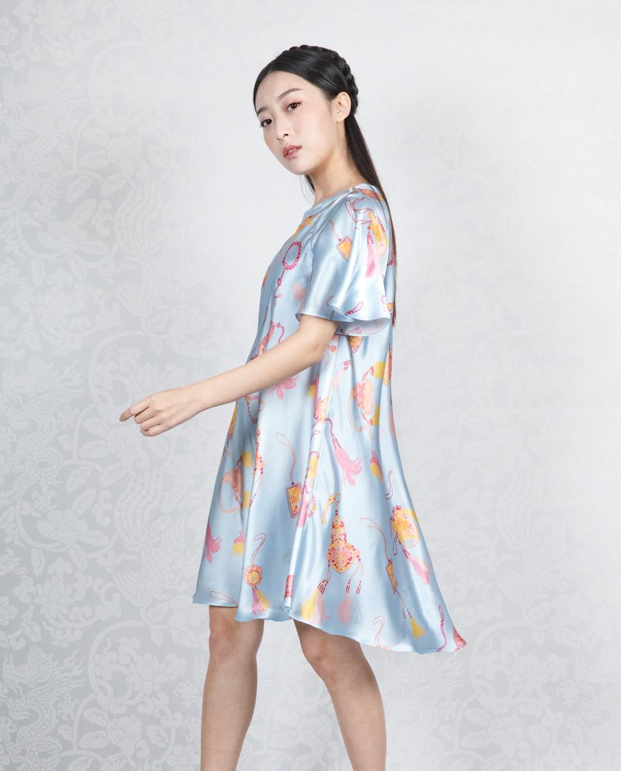 EMPEROR睡衣 【荷意年年系列】露肩宽松散摆连衣裙HJ21216