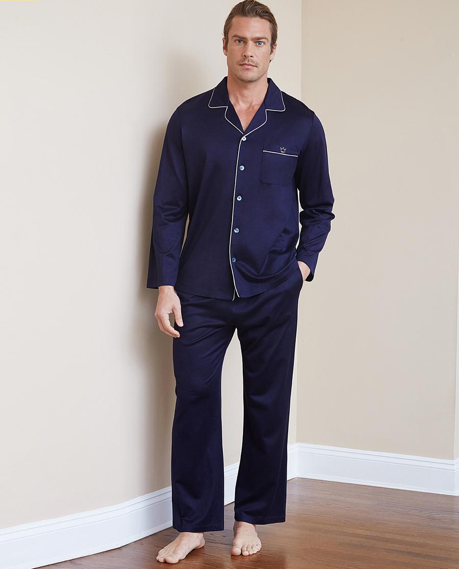Aimer Men睡衣 ag真人平台先生真丝棉系列家居长裤NS42C071