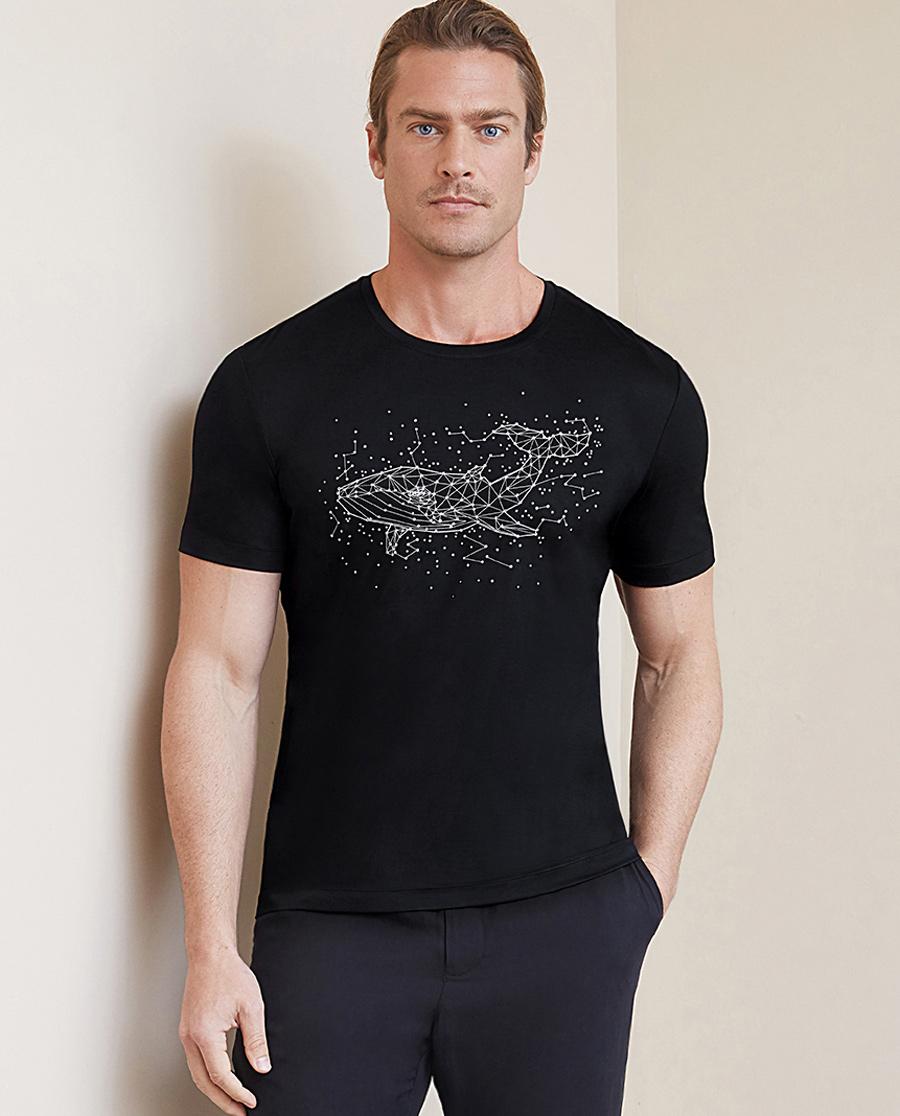 Aimer Men睡衣|爱慕先生限量创意T系列圆领短袖上衣NS81B951