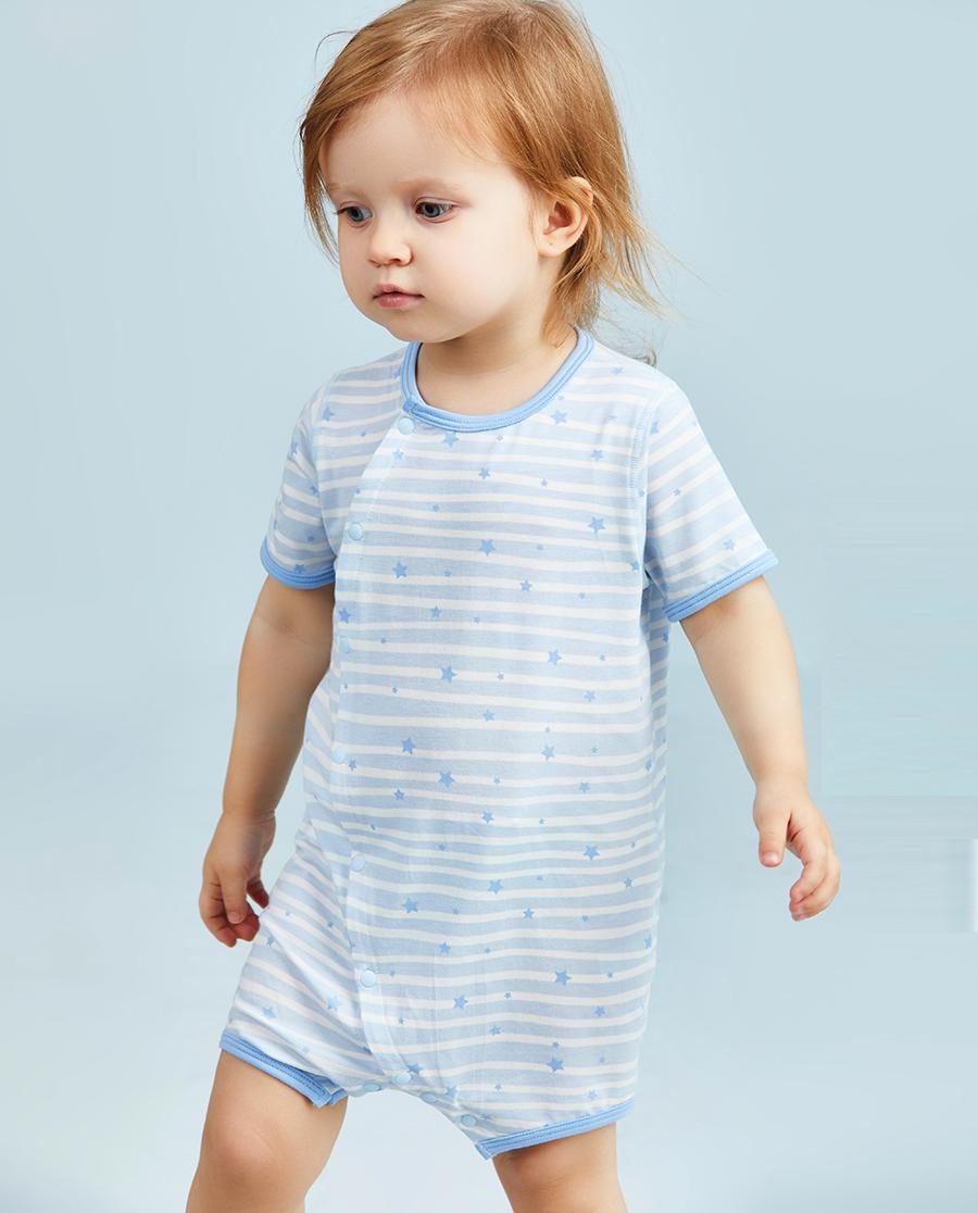 Aimer Baby保暖|爱慕婴儿飞天环游记男幼婴短袖短裤连体爬服AB2751016