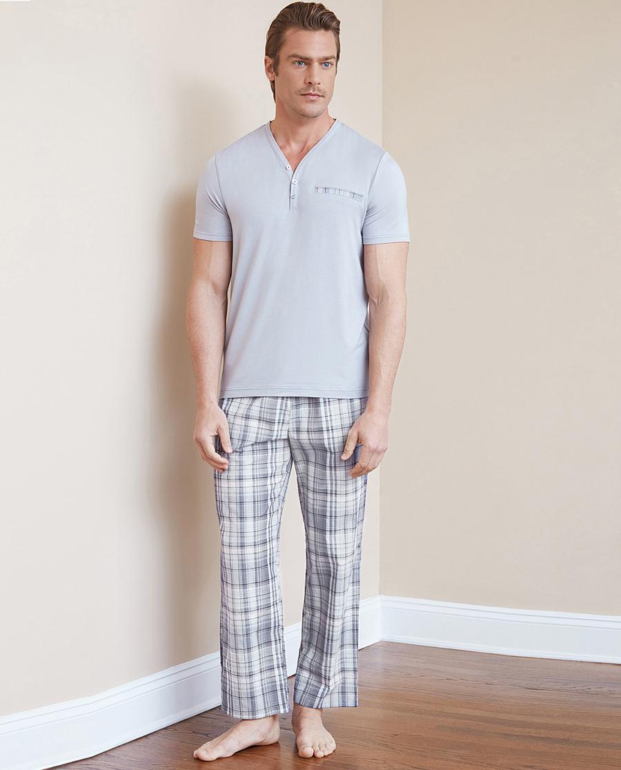 Aimer Men睡衣 ag真人平台先生格纹套装长裤NS42B731