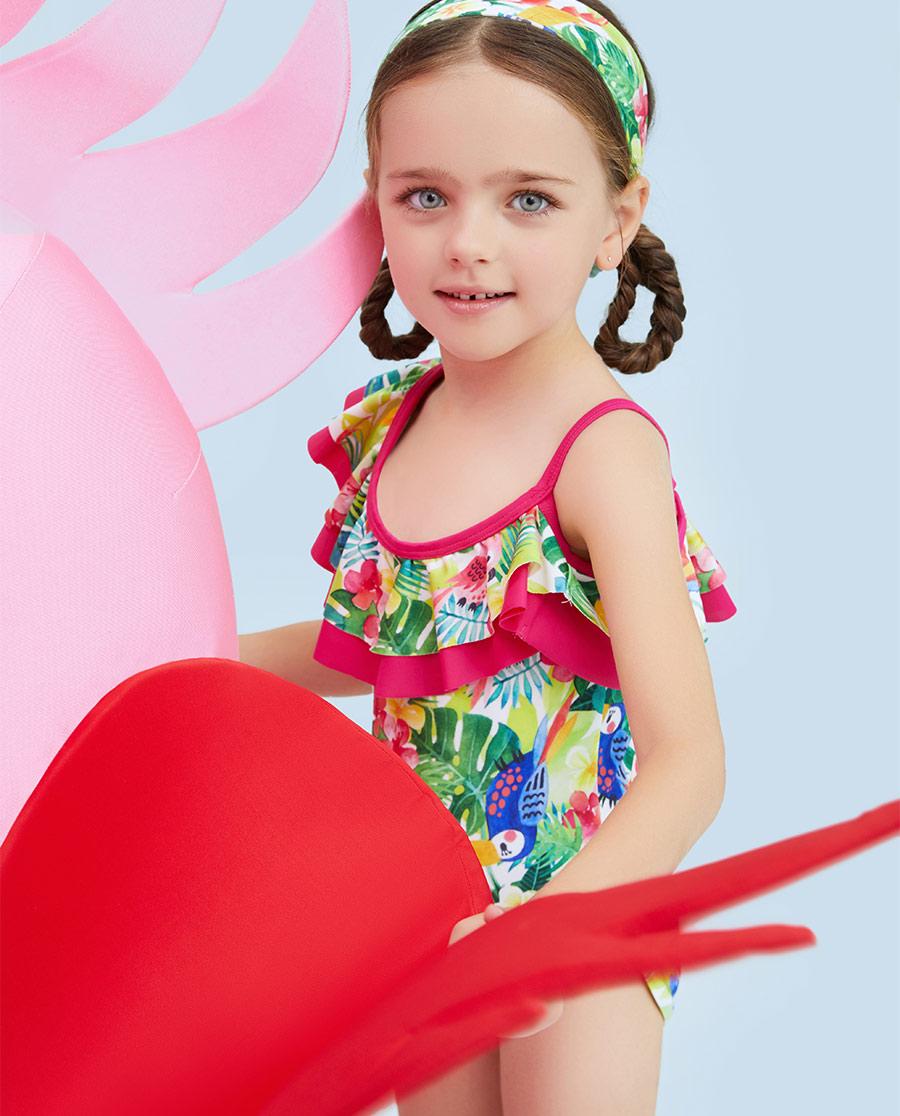 Aimer Kids泳衣|爱慕儿童雨林之歌连体泳衣AK1671582
