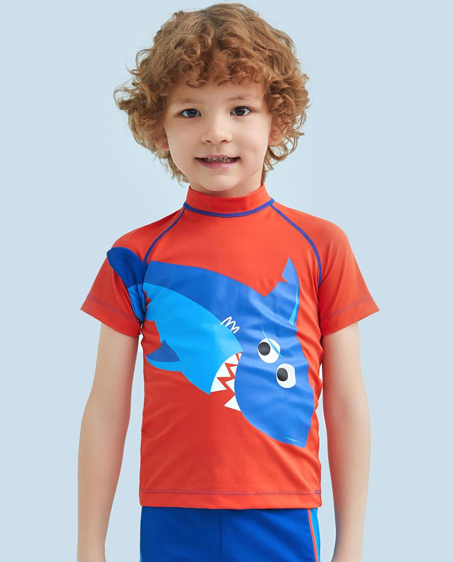 Aimer Kids泳衣|ag真人平台儿童鲨鱼部落短袖泳衣AK2671552