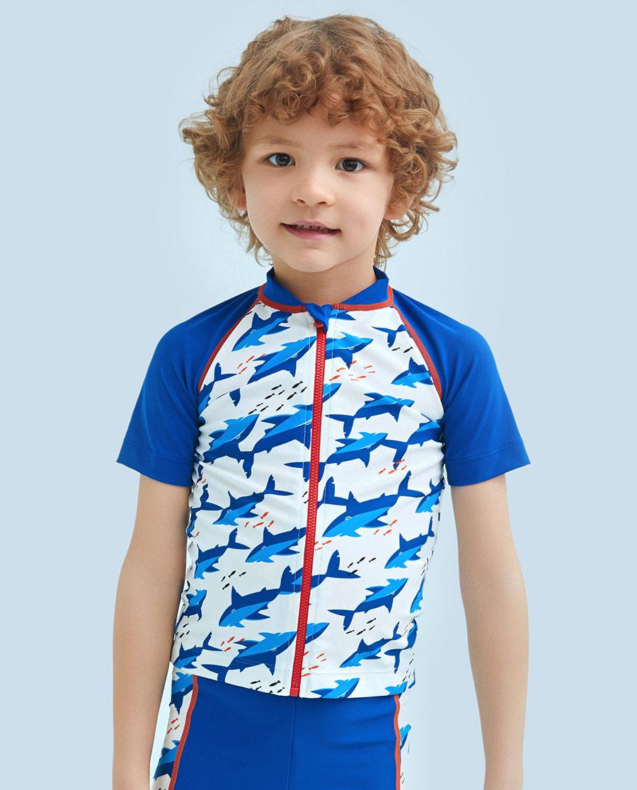 Aimer Kids泳衣|ag真人平台儿童鲨鱼部落短袖泳衣AK2671554