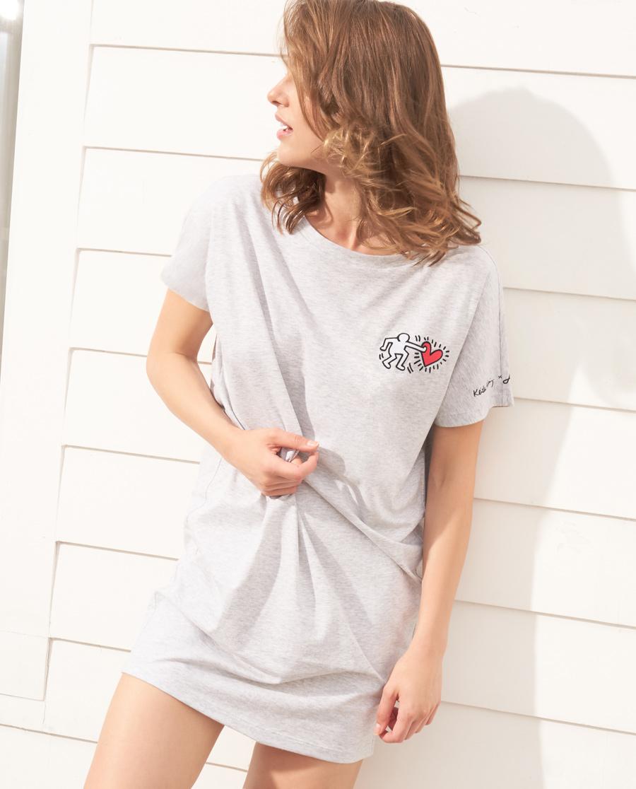 Aimer睡衣|爱慕Keith Haring短袖家居裙AM442501