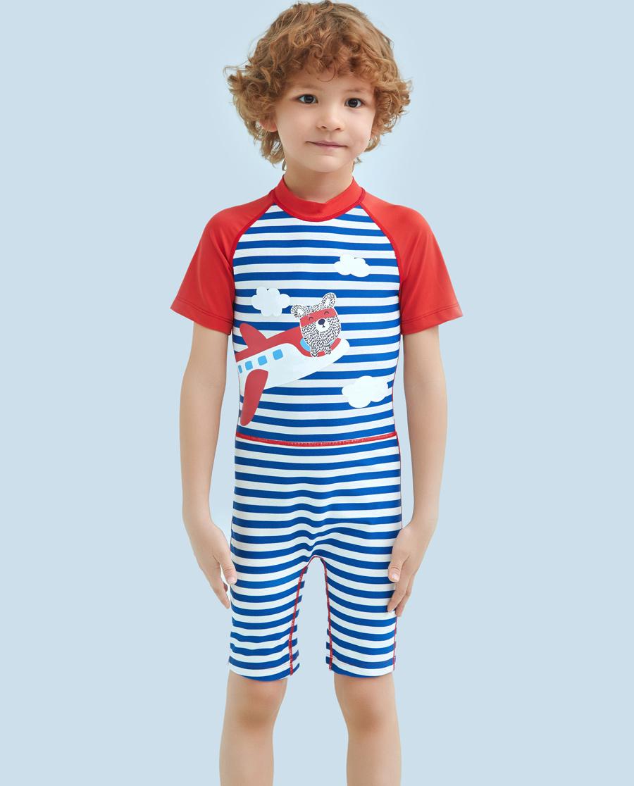 Aimer Kids泳衣|愛慕兒童條紋飛機短袖連體泳衣AK2671