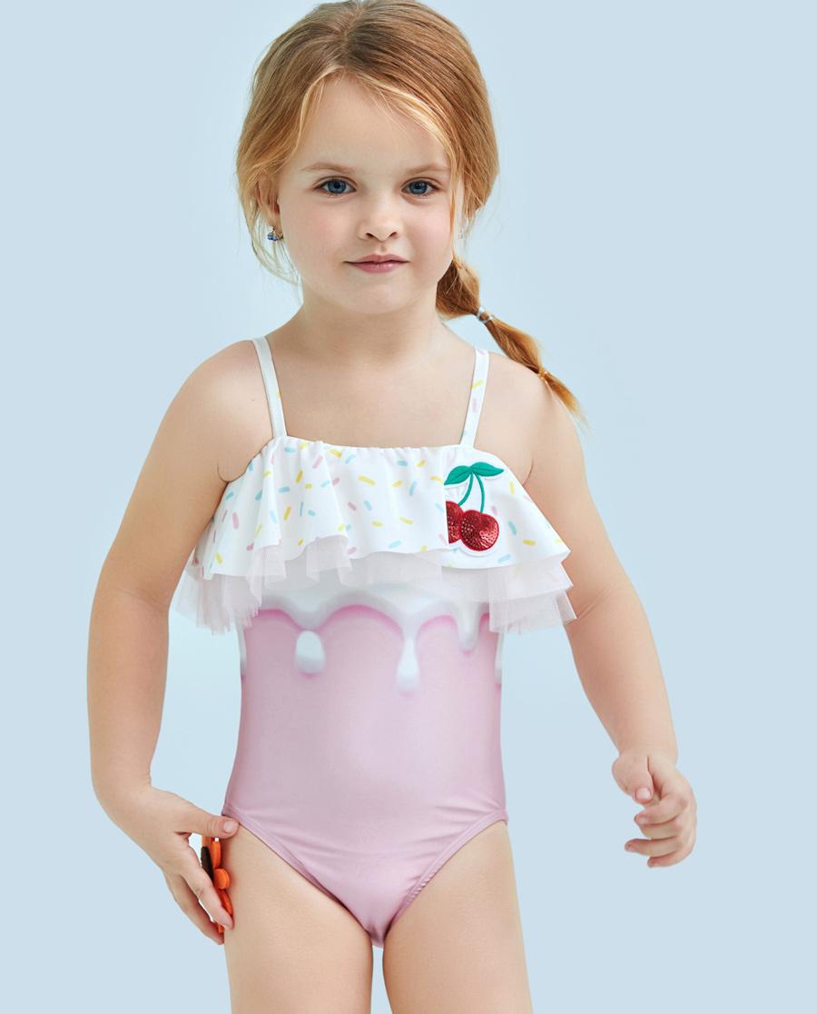 Aimer Kids泳衣|愛慕兒童櫻桃冰淇淋連體泳衣AK16715