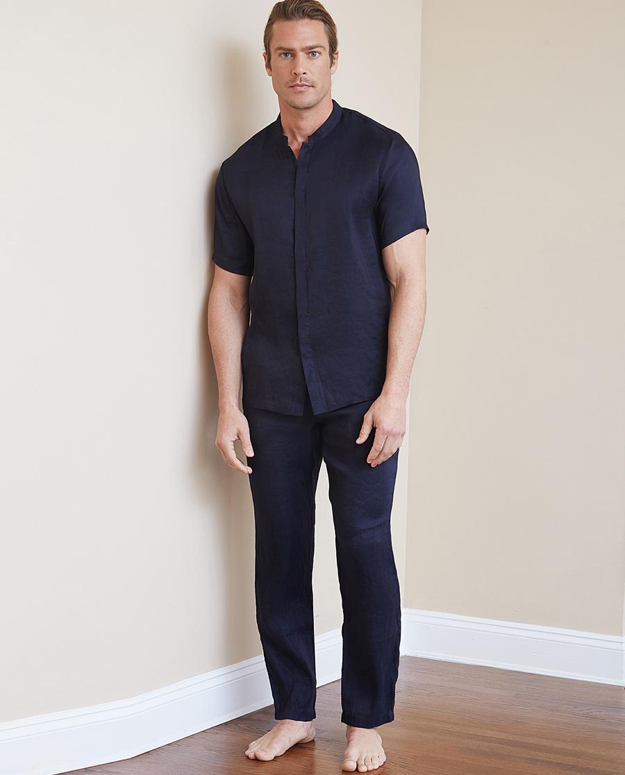 Aimer Men睡衣 ag真人平台先生冰丝亚麻长裤NS82B631