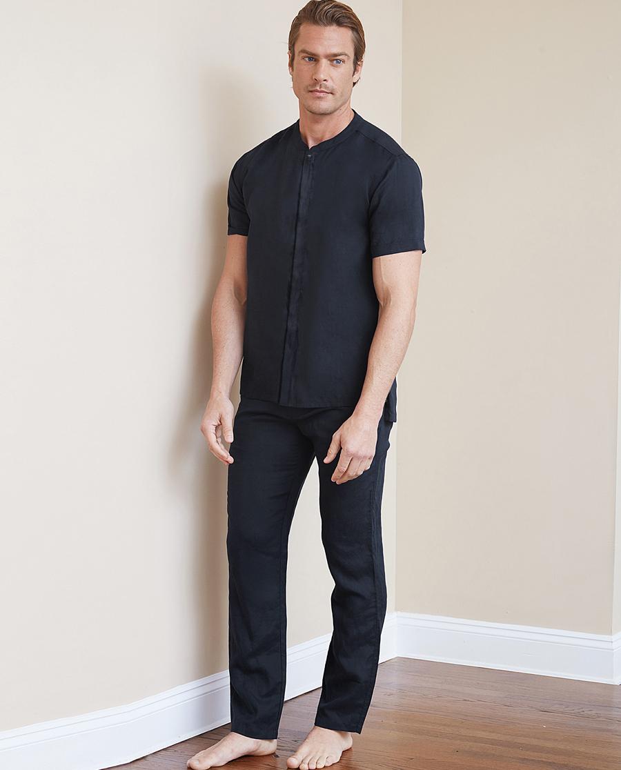 Aimer Men睡衣 ag真人平台先生丝麻系列长裤NS82B871