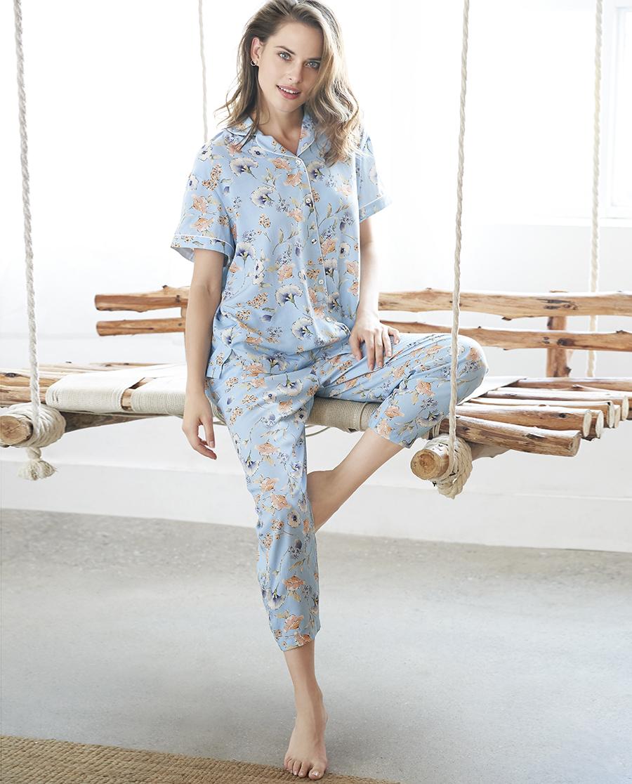 Aimer Home睡衣|爱慕家品沁幽兰香短袖分身家居套装AH460441