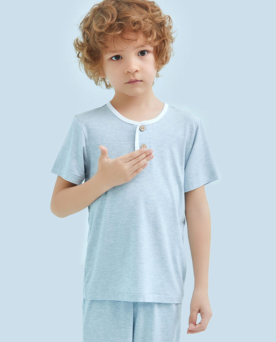 Aimer Kids睡衣|爱慕儿童植物日记短袖上衣AK241116