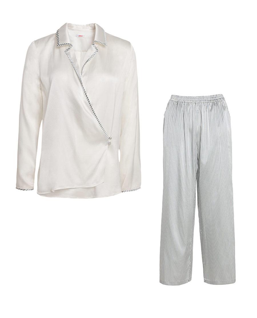 Aimer睡衣 爱慕悠闲假期长袖分身家居套装AM463081