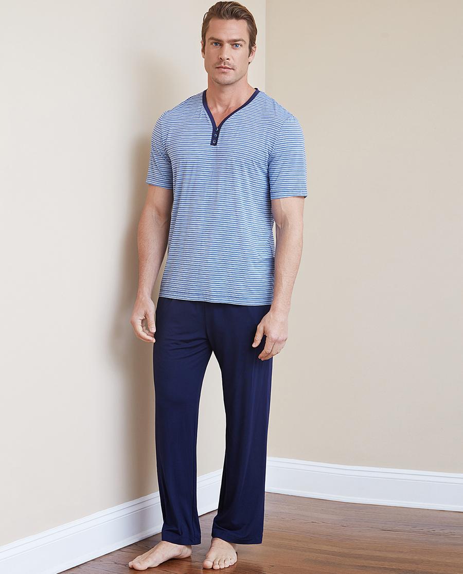Aimer Men睡衣|ag真人平台先生条纹情怀家居长裤NS42B911