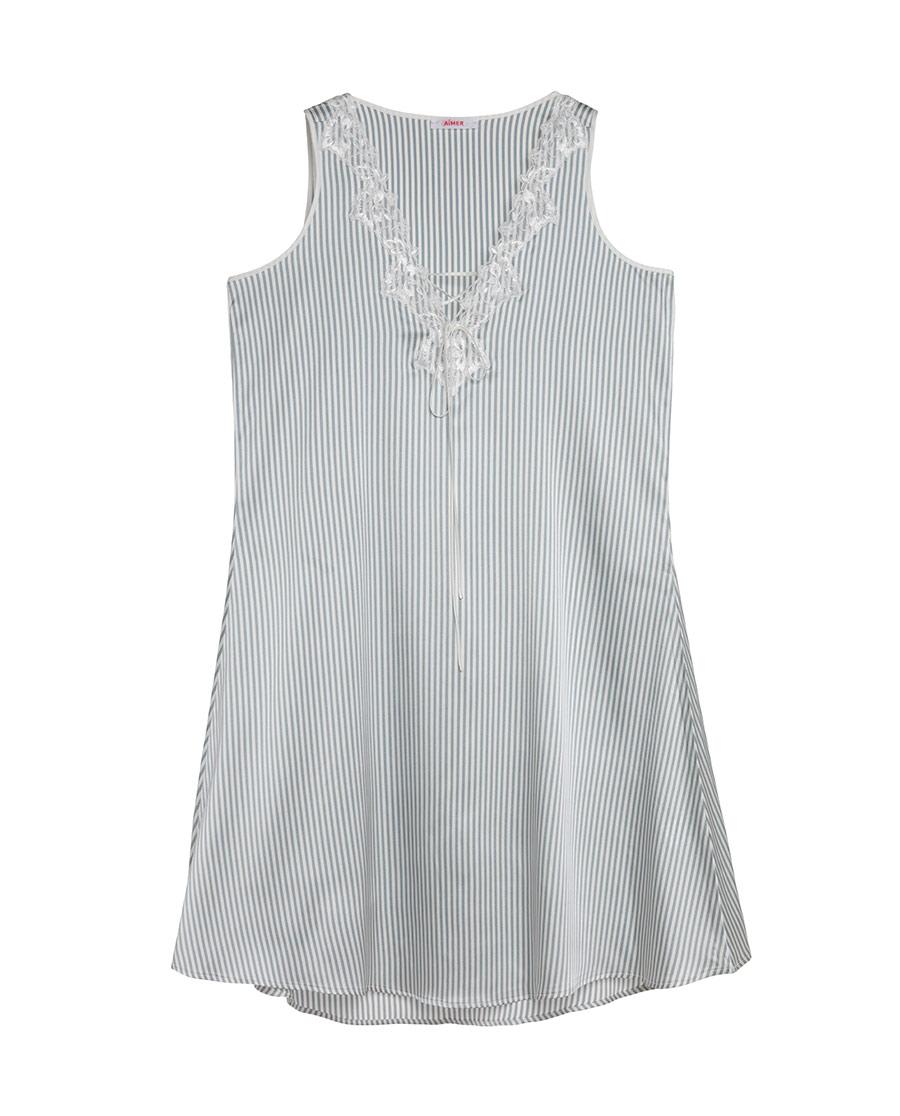 Aimer睡衣|爱慕悠闲假期窄肩短款家居睡裙AM443081