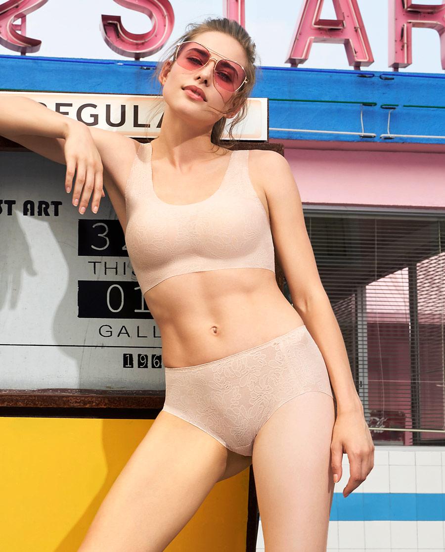 Aimer内裤|爱慕蕾丝低腰平角内裤AM232691