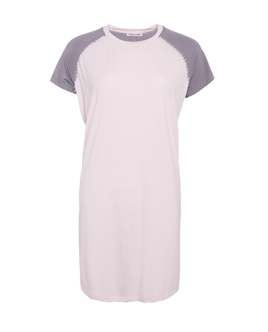 Aimer Home睡衣|爱慕家品柔姿琴享短袖中款防蚊睡裙AH440422