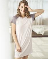 爱慕家居柔姿琴享短袖中款防蚊睡裙AH440422