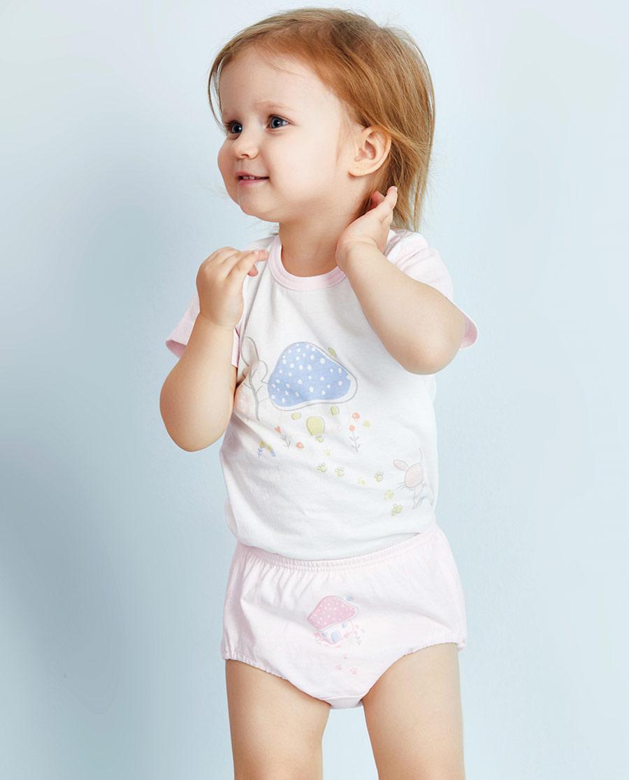 Aimer Kids内裤|ag真人平台儿童小兔子拔萝卜中腰三角面包裤两件包AK1221071