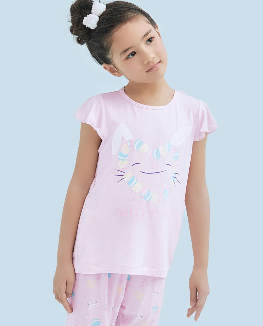 Aimer Kids睡衣|爱慕儿童甜心马卡龙女童短袖上衣AK1410922