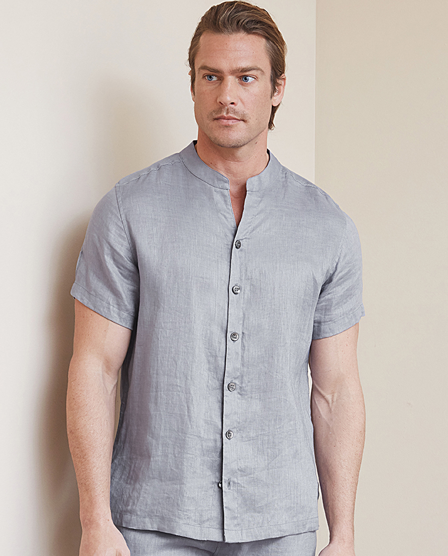Aimer Men睡衣|爱慕先生亚麻印象V立领开衫短袖NS81B991