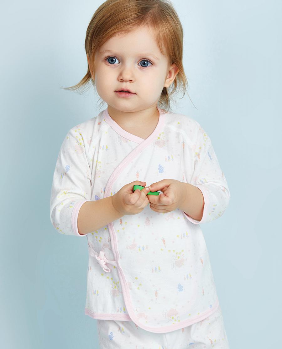 Aimer Baby保暖|爱慕婴儿小兔子拔萝卜女幼婴系绳长袖上衣A