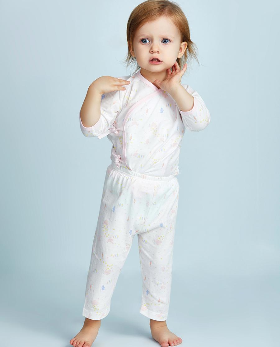 Aimer Baby睡衣 爱慕婴儿小兔子拔萝卜女幼婴七分裤AB14