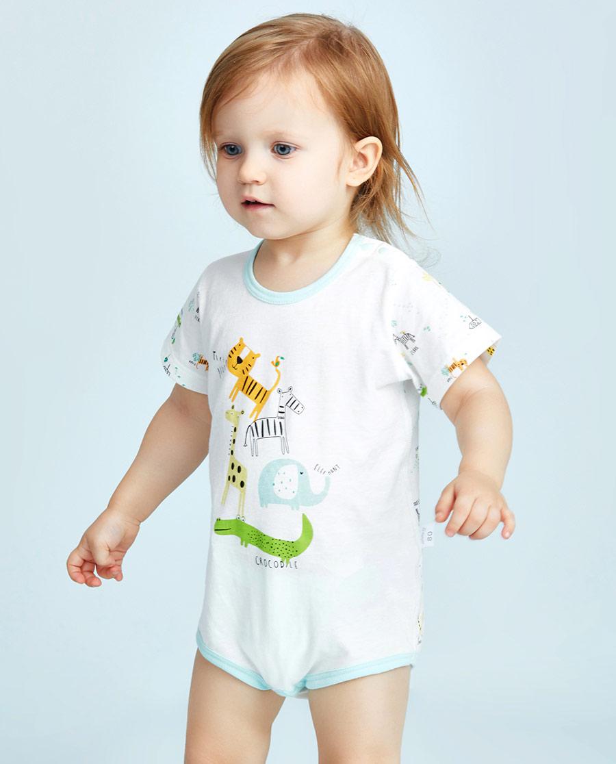 Aimer Baby保暖|爱慕婴幼动物园短袖无腿连体爬服AB275