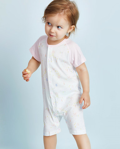 Aimer Baby保暖|爱慕婴儿小兔子拔萝卜女幼婴短袖短裤连体爬服AB1751071