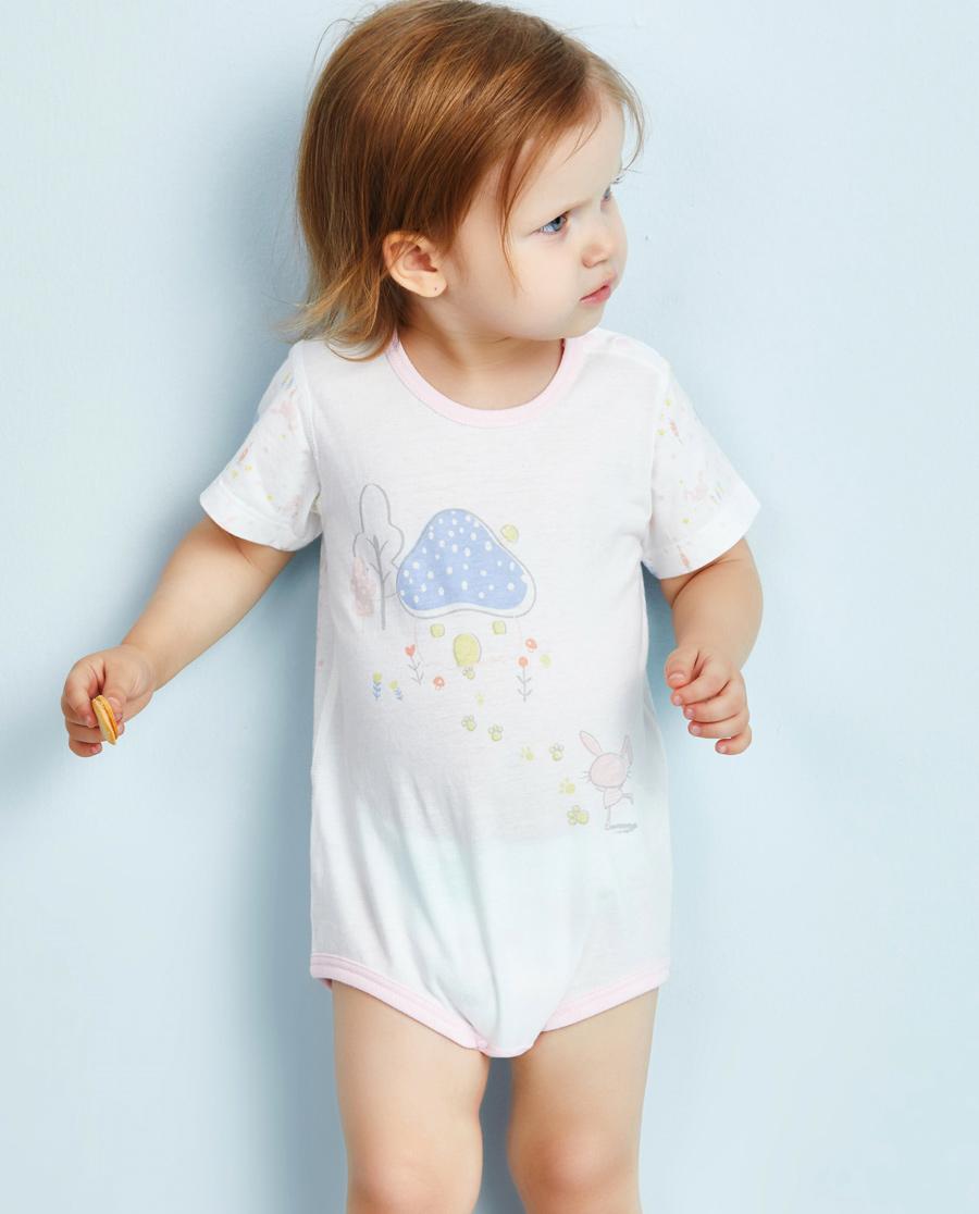 Aimer Baby保暖|爱慕婴儿小兔子拔萝卜女幼婴短袖无腿连体爬