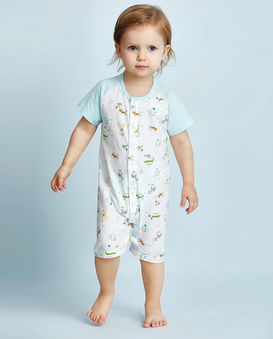 Aimer Baby保暖|爱慕婴幼动物园短袖短裤连体爬服AB275