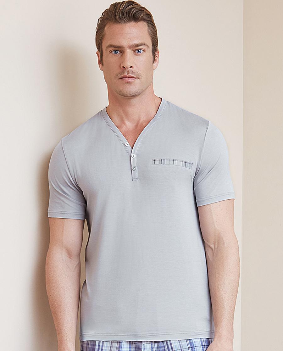 Aimer Men睡衣|爱慕先生蓝标格纹套装系列Y领短袖上衣NS41B731