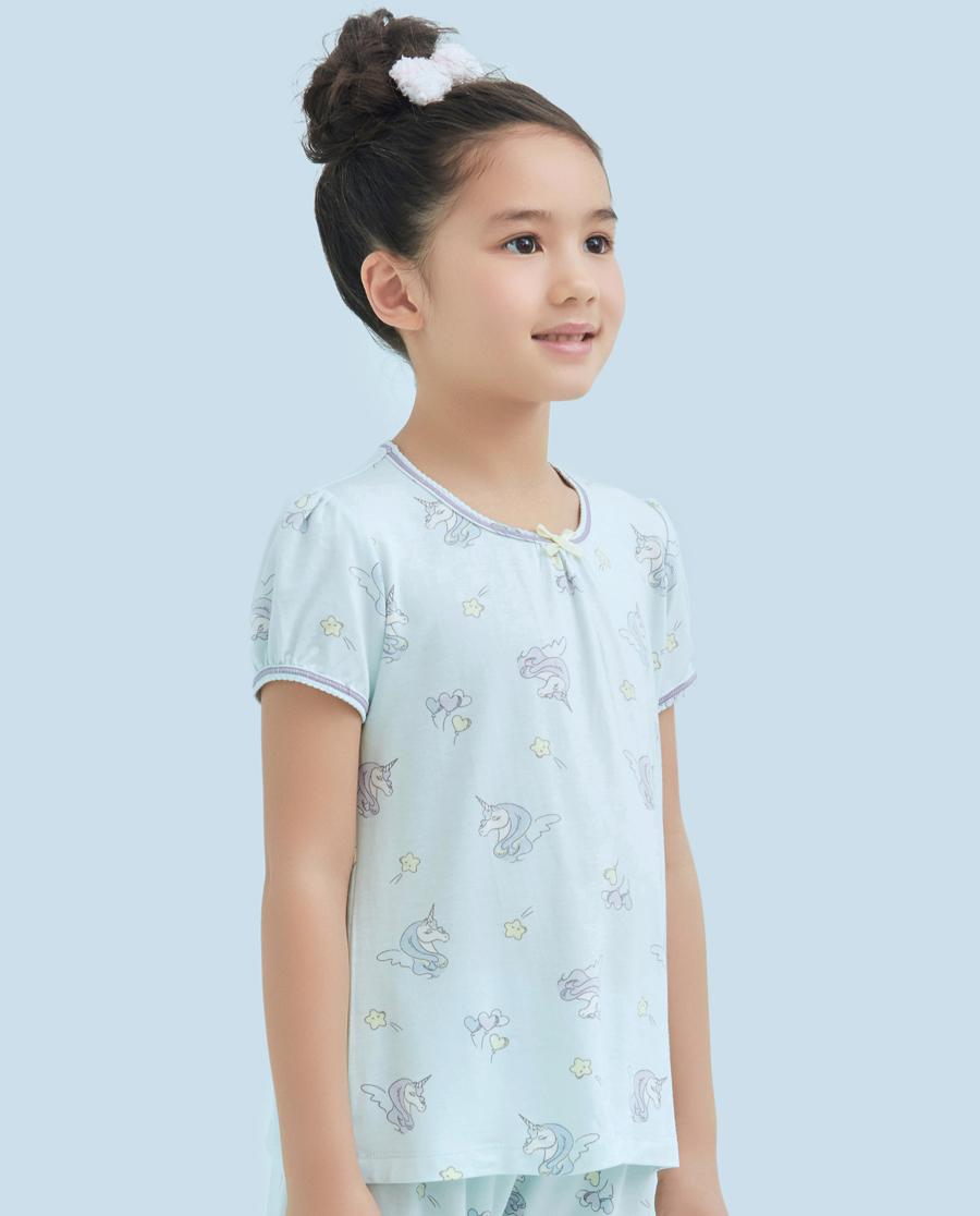 Aimer Kids睡衣|爱慕儿童梦幻独角兽女童短袖上衣AK1410932