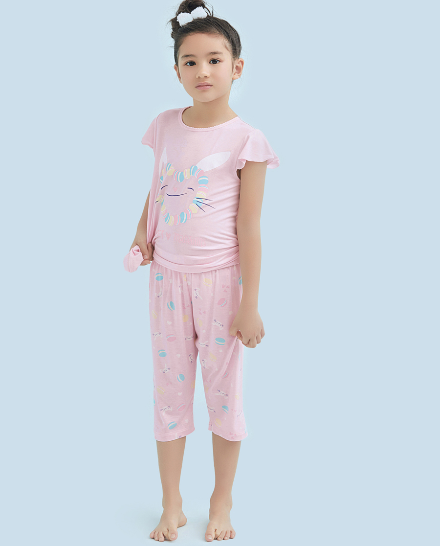 Aimer Kids睡衣|爱慕儿童甜心马卡龙女童七分裤AK1420922
