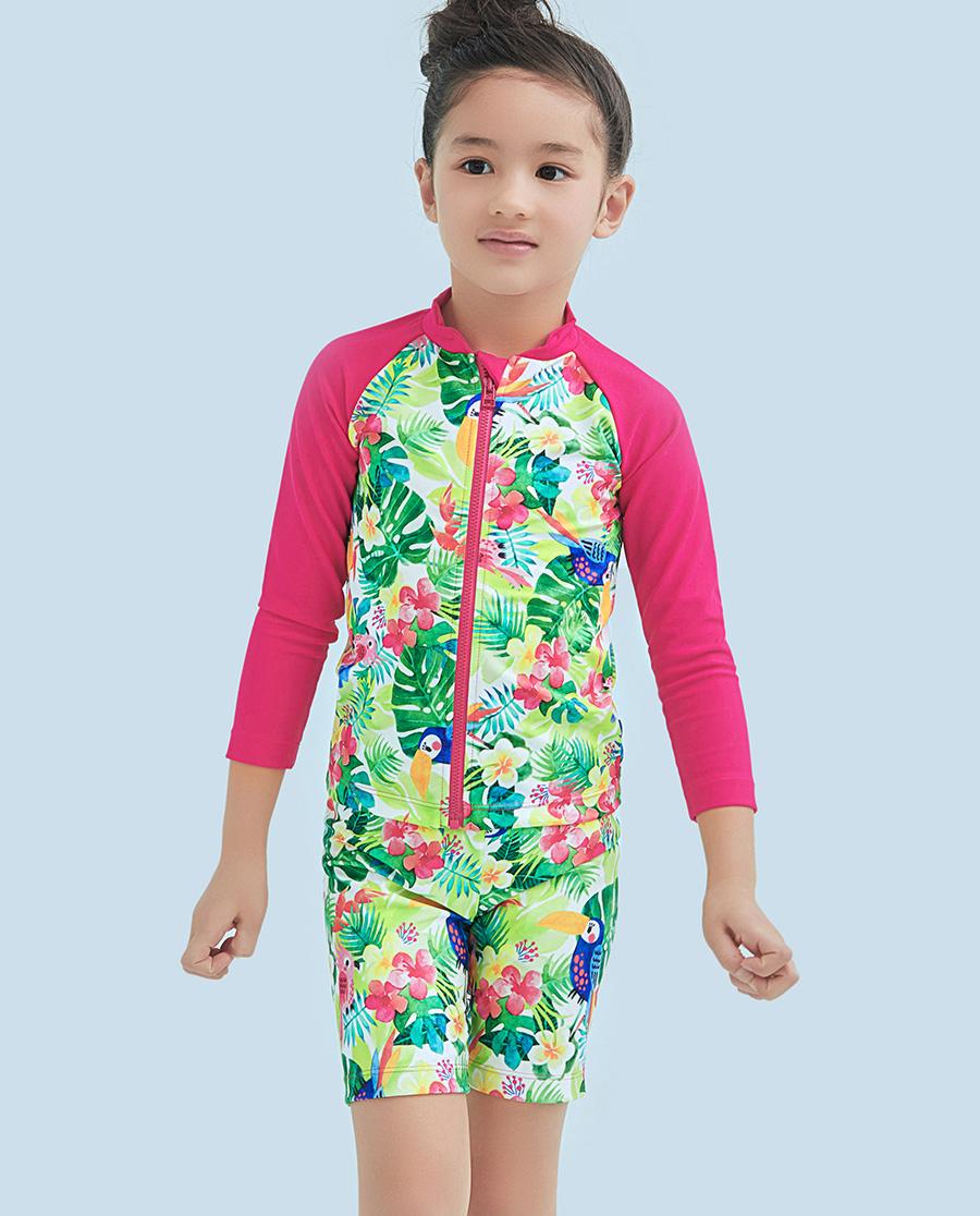 Aimer Kids泳衣|ag真人平台儿童雨林之歌长袖泳衣套装AK1671581