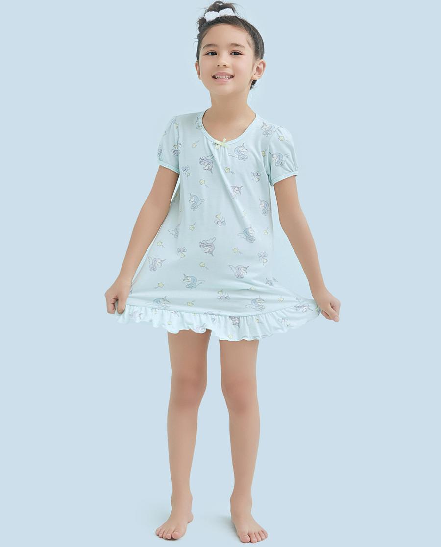 Aimer Kids睡衣|爱慕儿童梦幻独角兽女童短袖中长睡裙AK1440932