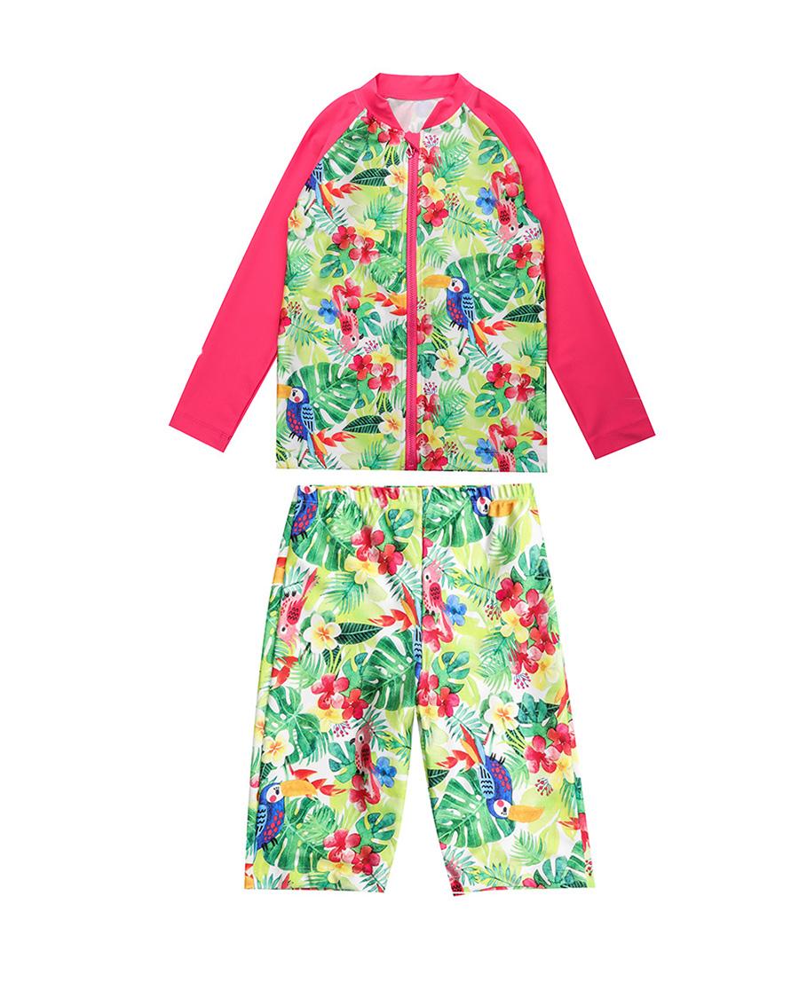 Aimer Kids泳衣|爱慕儿童雨林之歌长袖泳衣套装AK1671