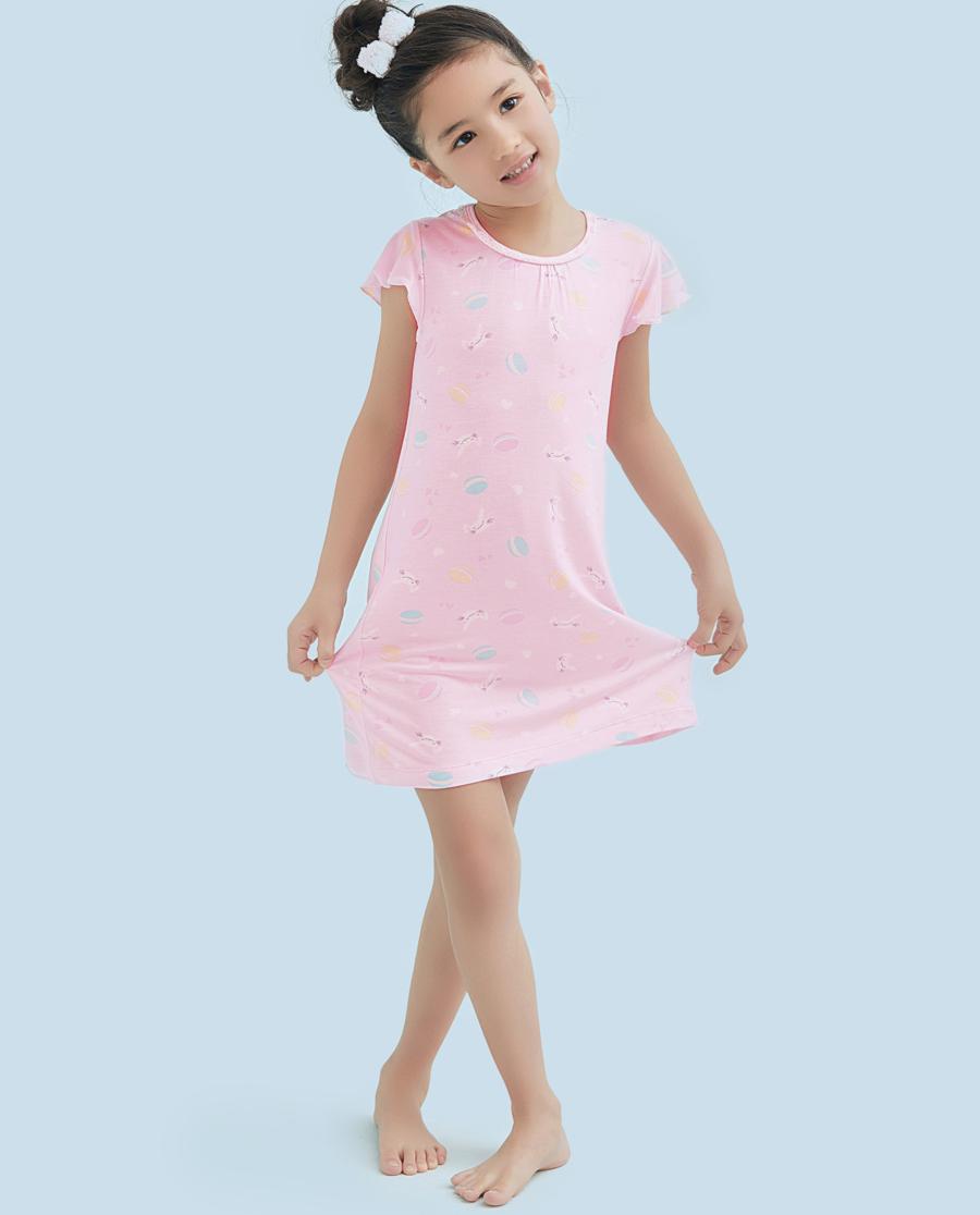 Aimer Kids睡衣|爱慕儿童甜心马卡龙女童短袖中长睡裙AK1440922